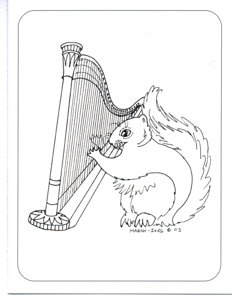 Squirrel with Harp